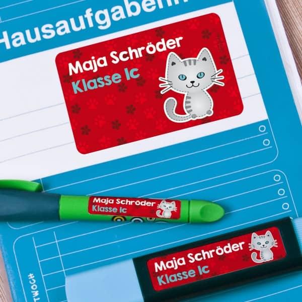 Aufkleber, Etiketten mit Katze und Name