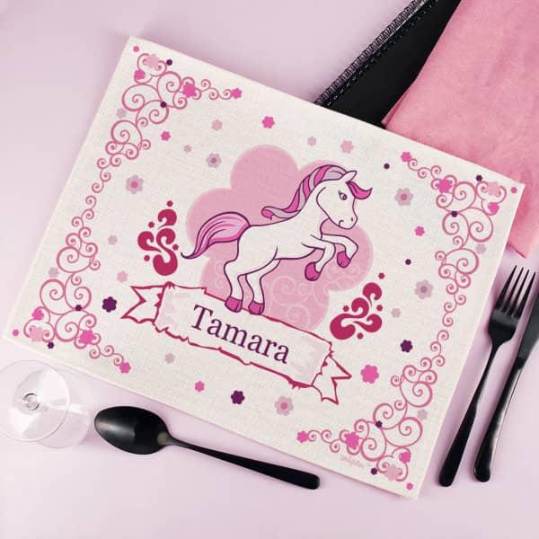 Bedrucktes Platzdeckchen aus Stoff mit Pink Pony
