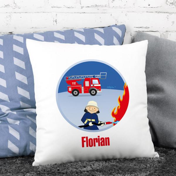 Feuerwehr Kissen für Kinder, 40 x 40 cm