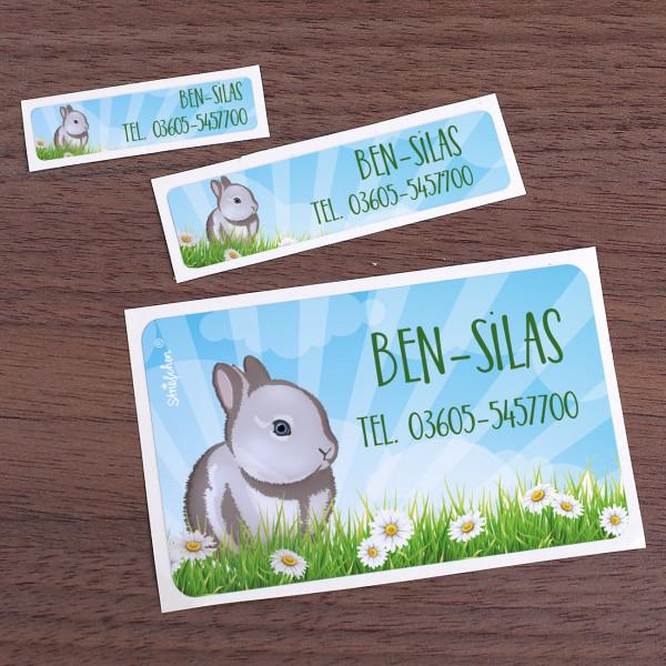 177 Schulaufkleber mit Kaninchen und Wunschtext