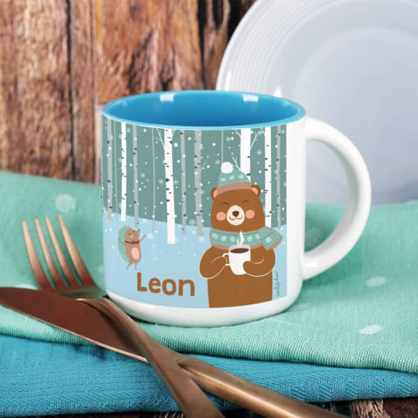 Großer Kakao-Pott mit Winterlandschaft und niedlichem Bär - personalisiert mit Name
