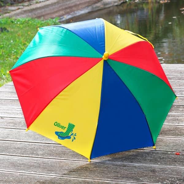 Bunter Schirm für Jungen mit Namensaufdruck