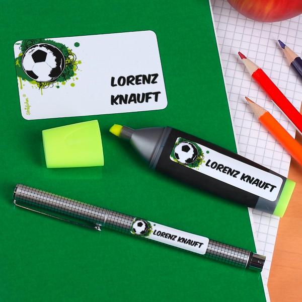 Aufkleber Set mit Fußballmotiv und Wunschname