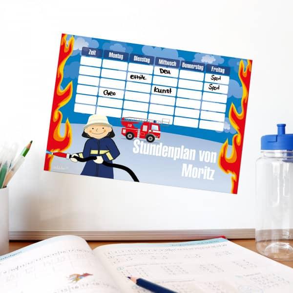 Abwischbarer, magnetischer Stundenplan mit Feuerwehr Motiv