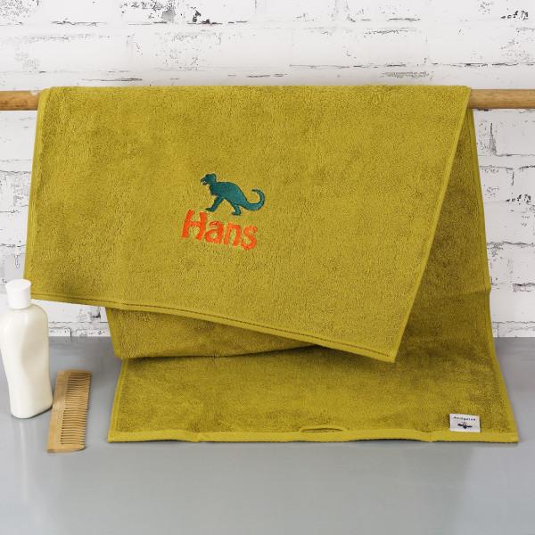 Saurier-Handtuch mit Name bestickt, 3 Größen zur Auswahl