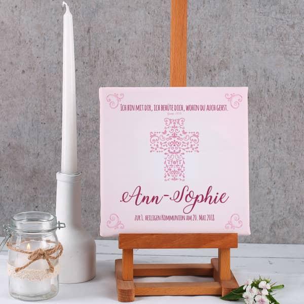 Leinwand für religiöse Anlässe mit Name und Wunschtext bedruckt, rosé, 20 x 20 cm
