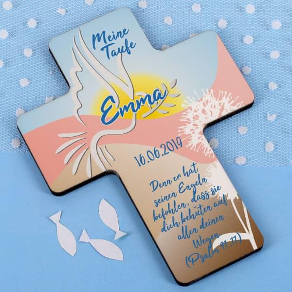 Taufkreuz für Junge und Mädchen im mehrfarbigen Design