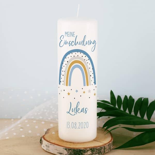 Kerze zur Einschulung mit Regenbogen für Jungen