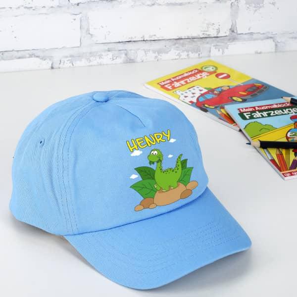 Basecap mit Dinomotiv und Wunschname