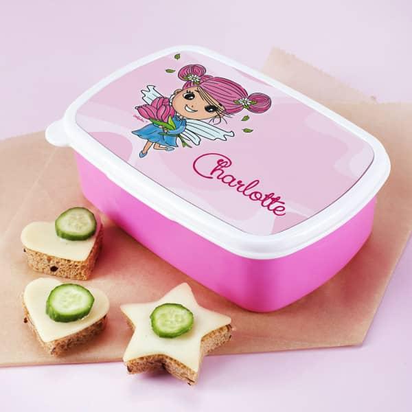 Brotdose rosa Tulpenfee mit Name nach Wunsch personalisiert