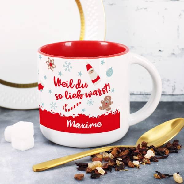 """Große Tasse, innen rot, mit """"Weil du so lieb warst"""" Motiv und Name bedruckt"""
