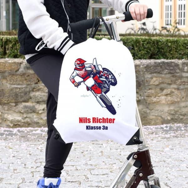 Sportbeutel für Kinder mit Motorrad-Motiv, Name und Text