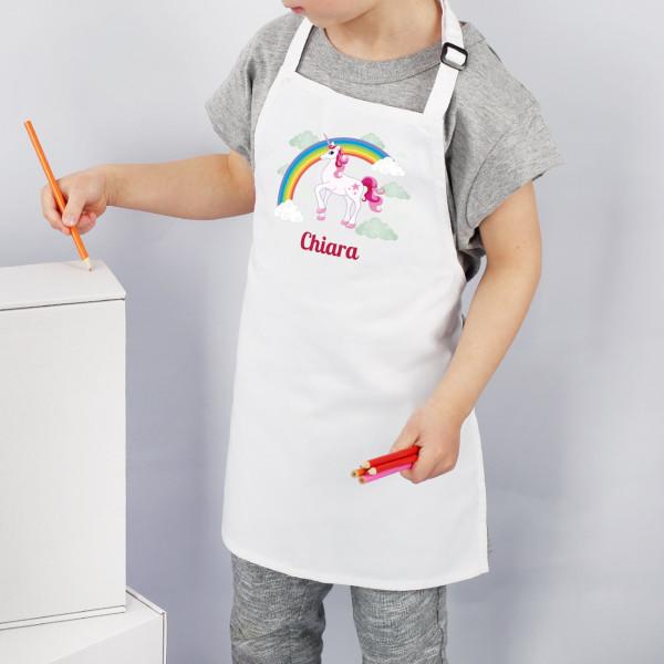 Weiße Kinderschürze mit Einhorn Motiv