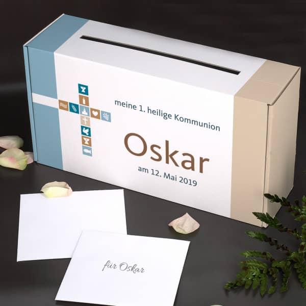 Briefbox für Jungen zu religiösen Anlässen, mit Name und Wunschtext bedruckt
