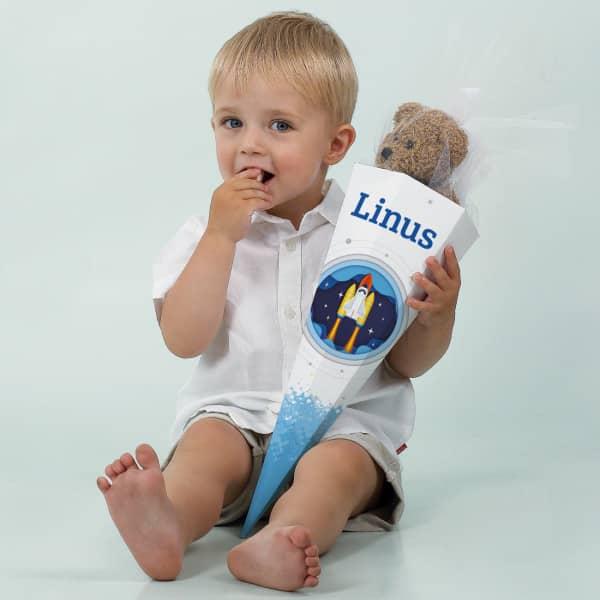 Geschwister-Schultüte mit Raumschiff und Name