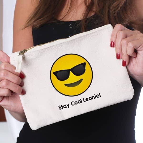 Beautycase mit coolem Emoticon und Wunschtext