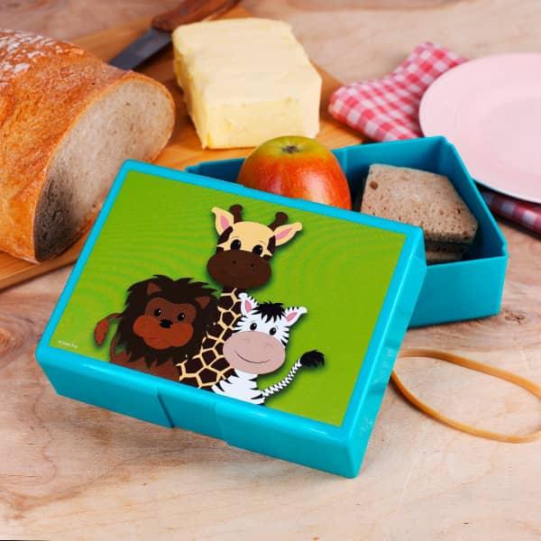 Brotdose mit wilden Tierkindern bedruckt