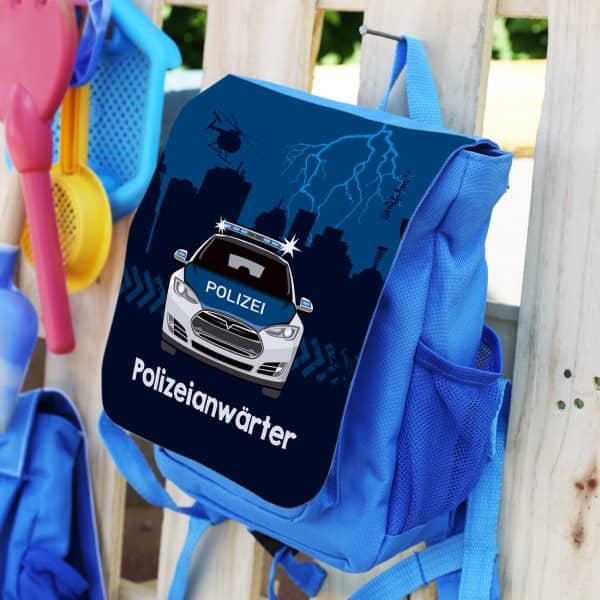 Blauer Kinderrucksack mit Polizeiauto und Name
