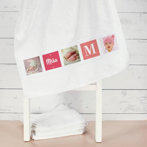 Foto-Handtuch für Mädchen mit Name und Initiale