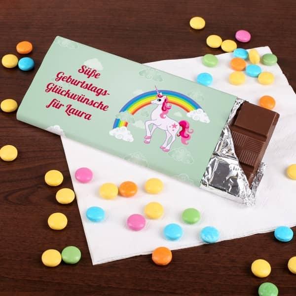 Einhorn Schokolade Wunschtext