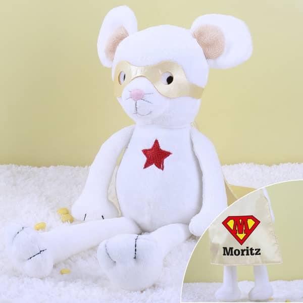 Superhelden-Kuscheltier Maus mit Ihrem Wunschnamen und Initial auf dem Cape