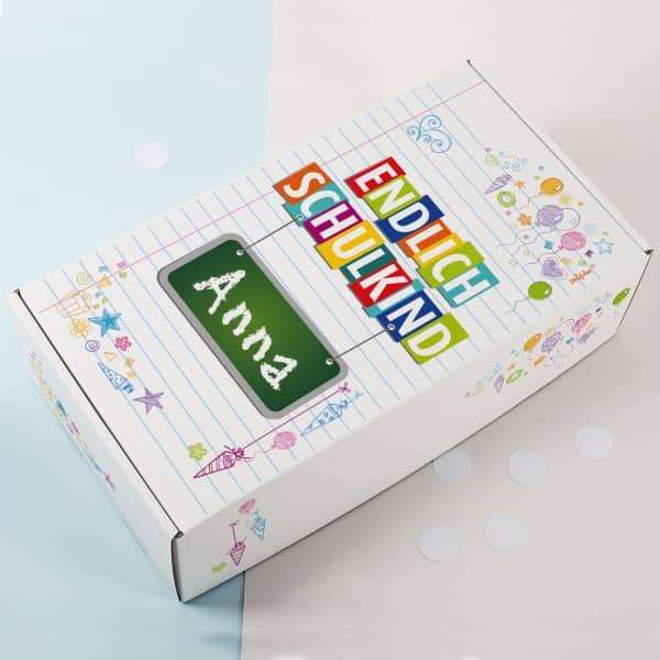 Geschenkkarton zur Einschulung - Endlich Schulkind
