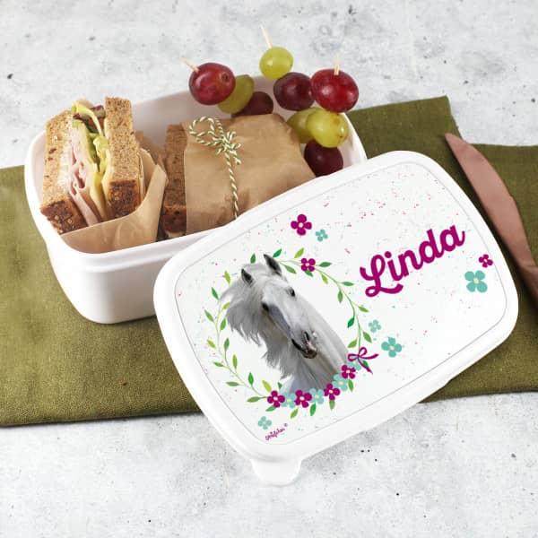 Brotdose mit Pferdemotiv für den Kindergarten oder die Schule