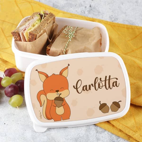 Eichhörnchen Brotdose aus BPA freien Kunststoff mit Name personalisiert