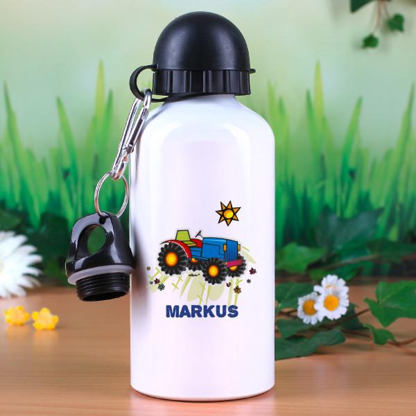 Trinklasche mit Traktor und Wunschname für Jungen
