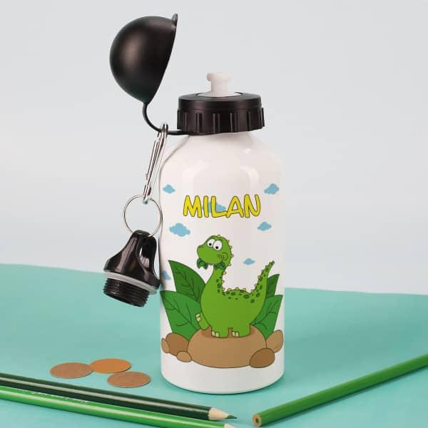 Trinkflasche mit niedlichem Dino und Name