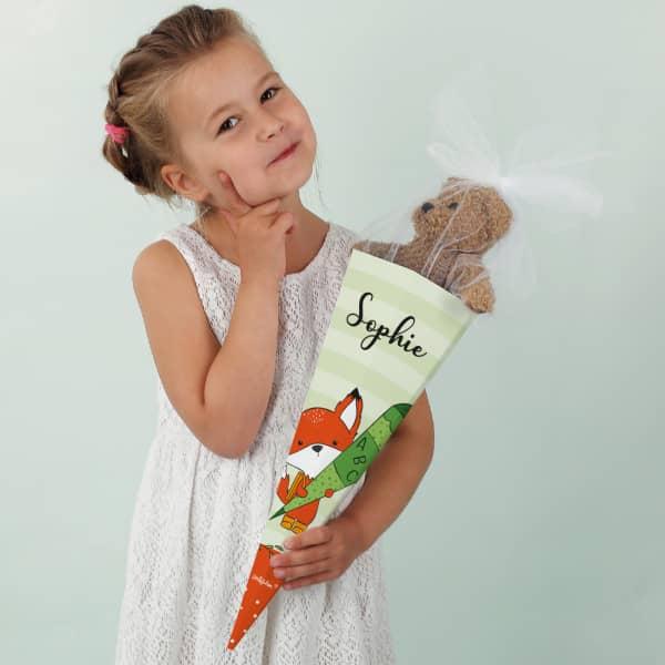Kleine Zuckertüte mit süßem Fuchsmotiv und deinem Namen