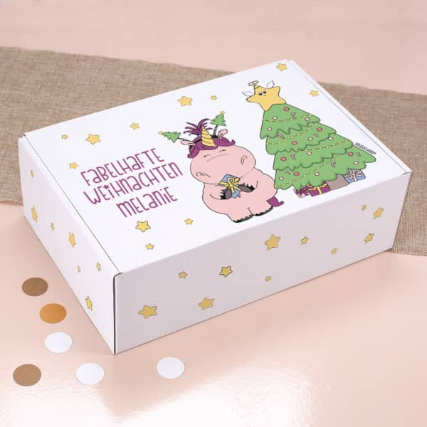 Geschenkverpackung mit Knuddelhorn und Ihrem Namen