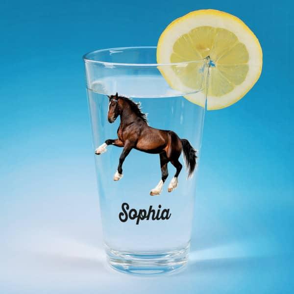 Bedrucktes Trinkglas mit Clydesdale Pferd und Name