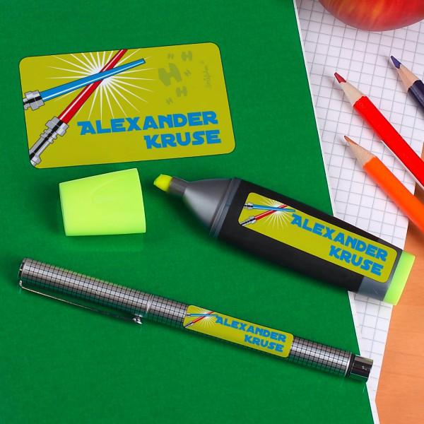 Schulaufkleber mit Namen und Laserschwert