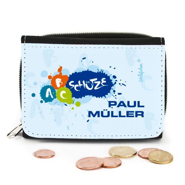Geldbörse für Schulkinder mit ABC-Schütze Motiv und Name