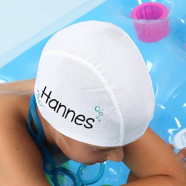 Badekappe mit Wunschname und Blubberblasen bedruckt