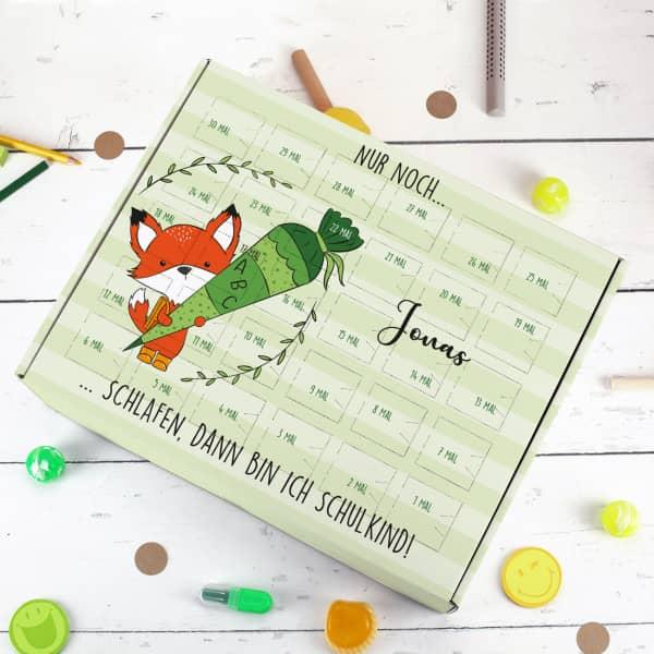 Schulstart-Kalender zum Befüllen mit Fuchsmotiv und Ihrem Wunschnamen