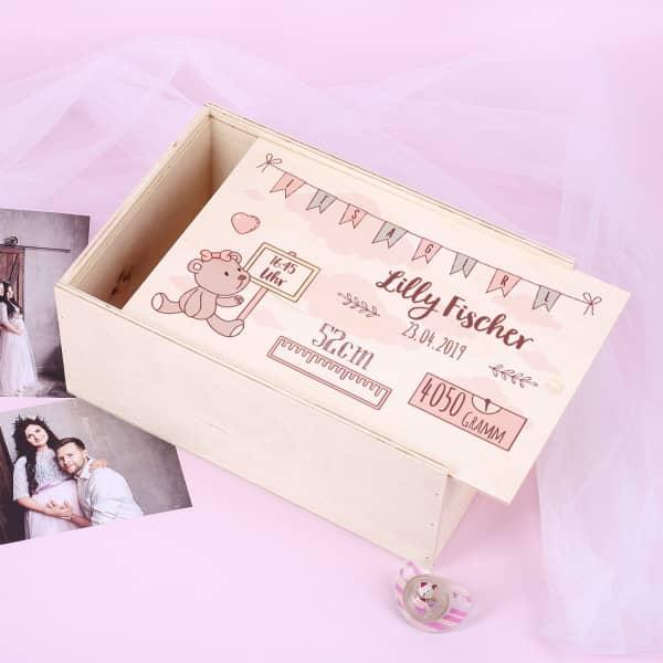 Bedruckte Erinnerungsbox zur Geburt