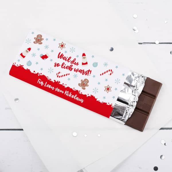 Weil du so lieb warst! Schokolade mit Wunschtext