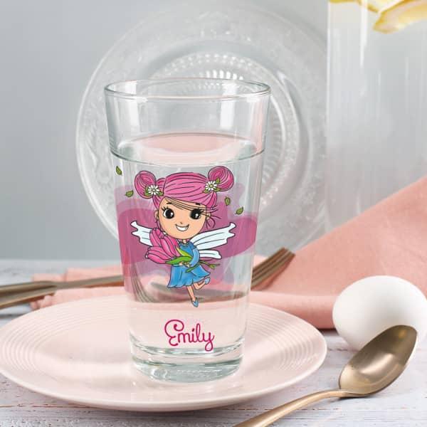 Trinkglas rosa Tulpenfee mit Name personalisiert