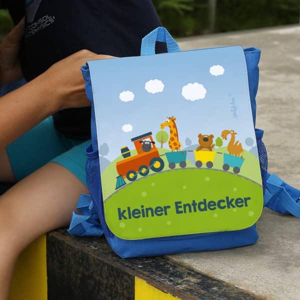 Kindergartenrucksack mit Zug und Wunschtext