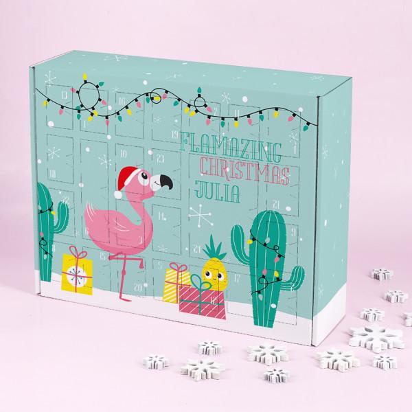 Flamingo Adventskalender zum selber Füllen mit Ihrem Namen