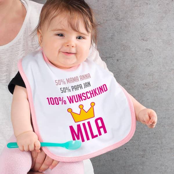 Lätzchen Wunschkind für Babys in rosa