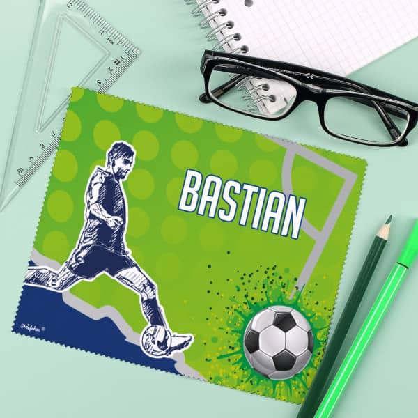 Fußball-Brillenputztuch mit deinem Namen