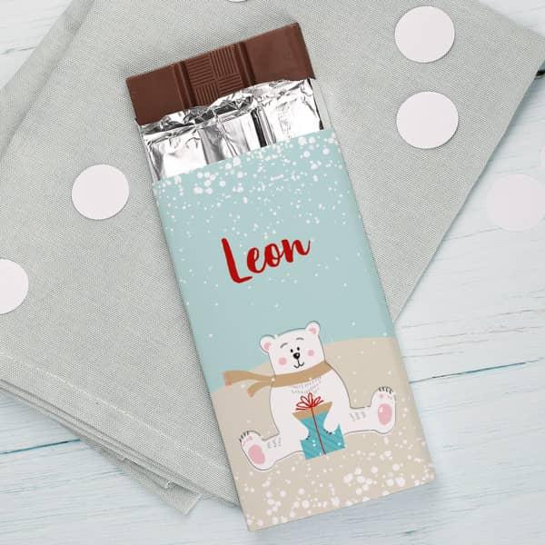 100 g Eisbär - Schokolade in winterlicher Verpackung mit Name