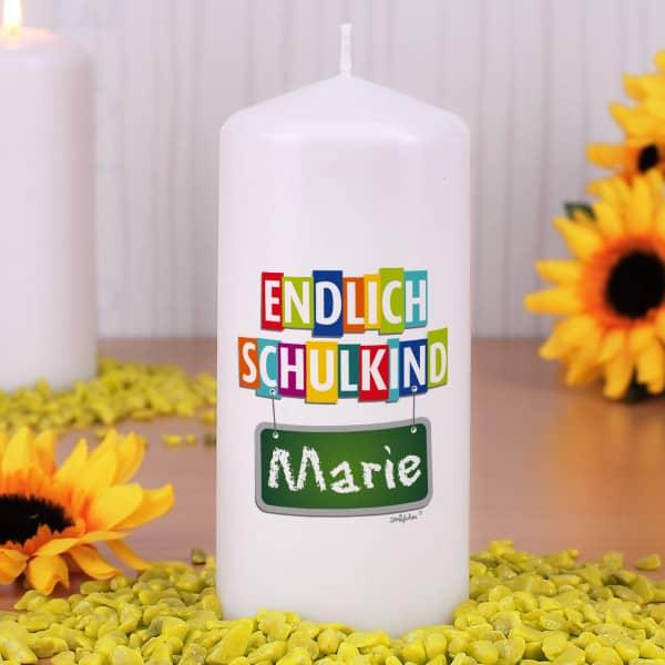 Kerze Endlich Schulkind - mit Name