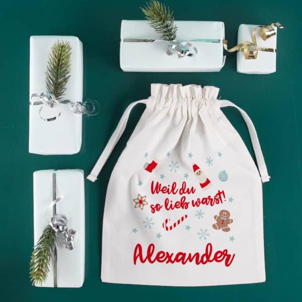 Geschenksäckchen zum Nikolaus Weil du so lieb warst! mit Name