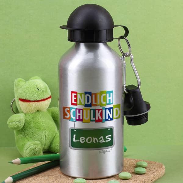 """Silberne Trinkflasche bedruckt mit """"Endlich Schulkind"""" und Ihrem Wunschname"""