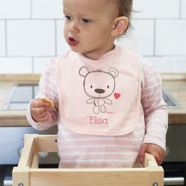 Rosa Lätzchen mit süßem Teddybären