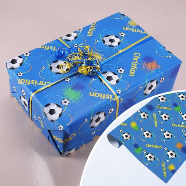 Fußballer-Geschenkpapier mit Wunschname